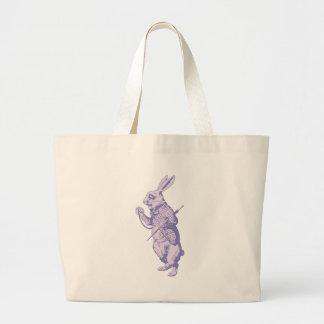 El conejo blanco entintó la lavanda bolsa tela grande