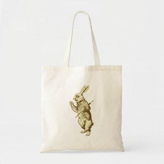 El conejo blanco entintó sepia bolsa tela barata