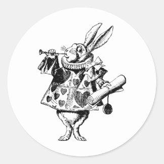 El conejo blanco Herald entintó negro Pegatina Redonda