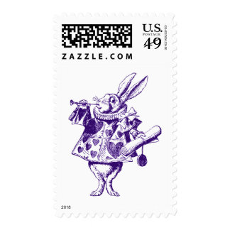 El conejo blanco Herald entintó púrpura Sello