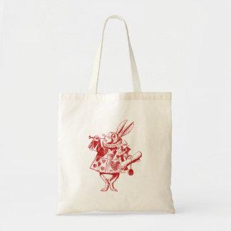 El conejo blanco Herald entintó rojo Bolsa Tela Barata