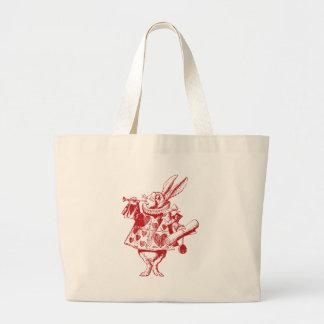 El conejo blanco Herald entintó rojo Bolsa Tela Grande