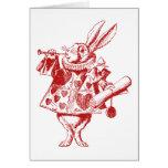 El conejo blanco Herald entintó rojo Felicitacion