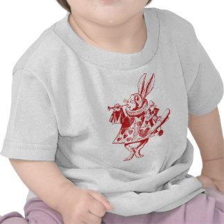El conejo blanco Herald entintó rojo Camisetas
