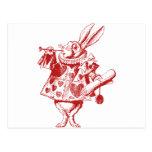 El conejo blanco Herald entintó rojo Tarjeta Postal