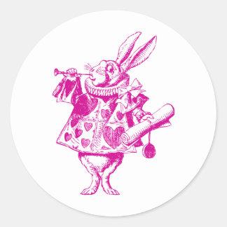 El conejo blanco Herald entintó rosa Pegatina Redonda