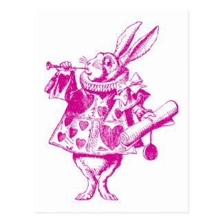 El conejo blanco Herald entintó rosa Postal