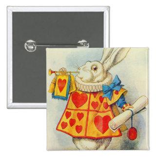 El conejo blanco pin cuadrada 5 cm