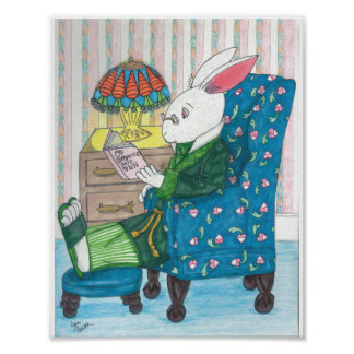 El conejo blanco se relaja