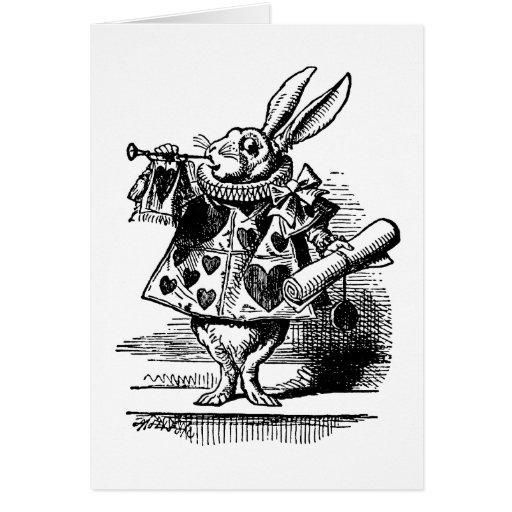 El conejo blanco tarjeta de felicitación