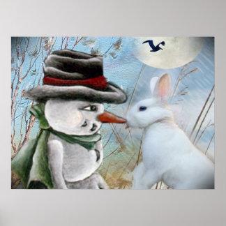 El conejo come la nariz del muñeco de nieve póster