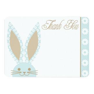 """El conejo de conejito azul le agradece cardar invitación 5"""" x 7"""""""