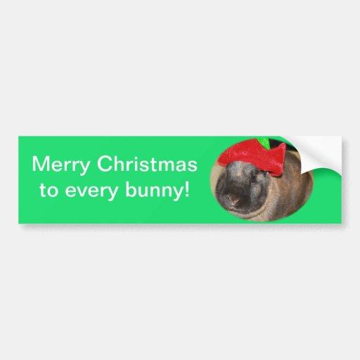 El conejo de conejito con el gorra de Santa dice F Pegatina De Parachoque