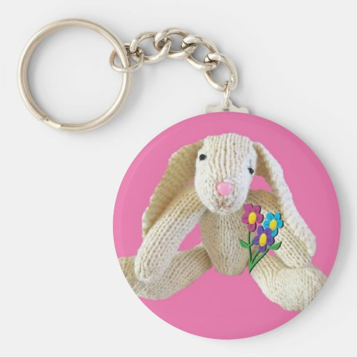 ¡El conejo de conejito florece el cumpleaños del l Llavero Personalizado