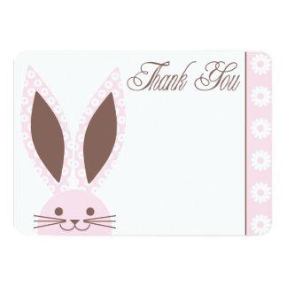 """El conejo de conejito rosado le agradece cardar invitación 5"""" x 7"""""""