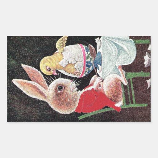 El conejo de Pascua consigue sorpresa del polluelo Pegatina Rectangular