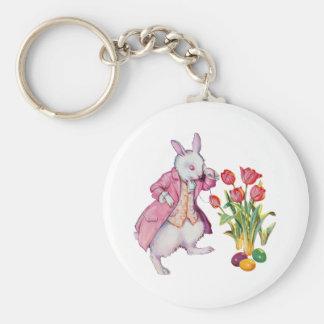 El conejo de Peter examina los huevos de Pascua Llavero Redondo Tipo Pin