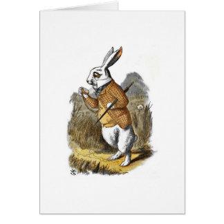 El conejo del blanco de Alicia del cuarto de niños Tarjeta De Felicitación