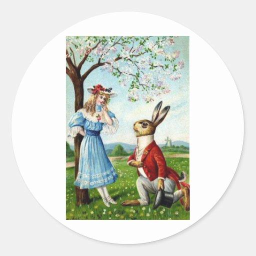 El conejo del caballero pegatina redonda