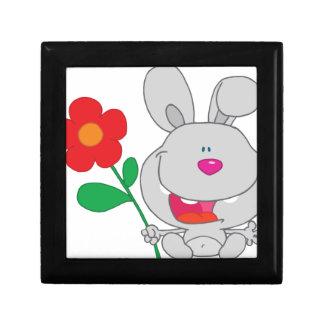 El conejo feliz celebra la sonrisa de la flor cajas de recuerdo