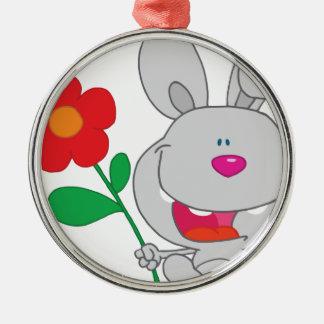El conejo feliz celebra la sonrisa de la flor adorno