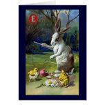 El conejo juega Diablo con el vintage Pascua de lo Tarjeton