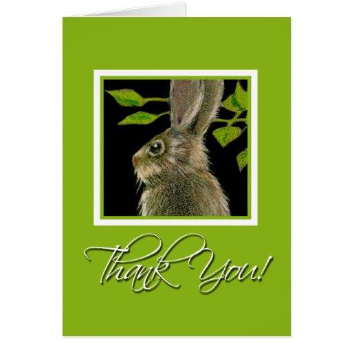 El conejo le agradece Notecards Tarjeta