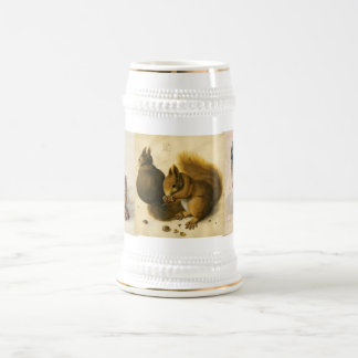 El conejo (liebre joven), ardillas y búho jarra de cerveza
