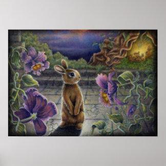 El conejo soña la pintura del conejito de las flor impresiones