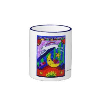 el conejo voló sobre la luna, diseñada por taza a dos colores