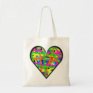 El confeti alinea el corazón del amor bolsas