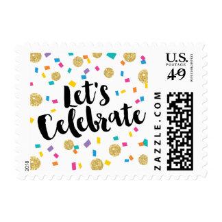 El confeti colorido nos dejó celebrar sellos postales