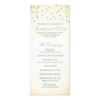 """El confeti de la mirada del brillo del oro puntea invitación 4"""" x 9.25"""""""