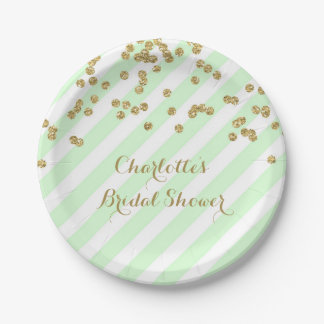 El confeti de la verde menta del oro raya la ducha platos de papel