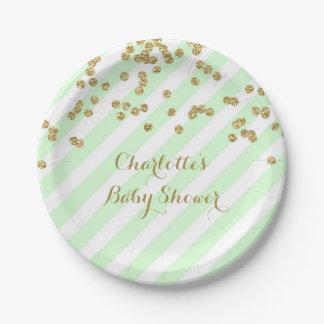 El confeti de la verde menta del oro raya la placa platos de papel