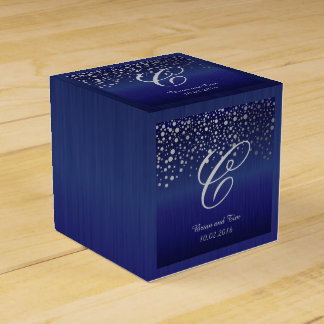 El confeti de plata del monograma puntea el azul cajas para regalos de fiestas