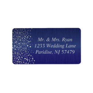 El confeti de plata elegante puntea el | azul etiqueta de dirección