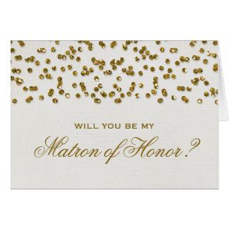 El confeti del brillo del encanto del oro sea tarjeta pequeña