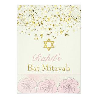 """El confeti del efecto del oro, palo color de rosa invitación 4.5"""" x 6.25"""""""