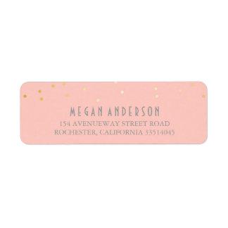 El confeti del oro se ruboriza boda rosado etiqueta de remite