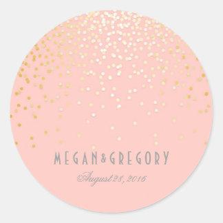 El confeti del oro se ruboriza boda rosado pegatina redonda