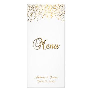 El confeti elegante del oro puntea el fondo blanco lonas publicitarias