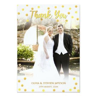 """El confeti lindo del oro le agradece foto del boda invitación 5"""" x 7"""""""