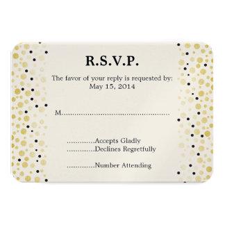 """El confeti negro del oro puntea casar RSVP Invitación 3.5"""" X 5"""""""