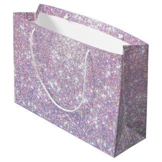 El confeti púrpura rosado del brillo protagoniza bolsa de regalo grande