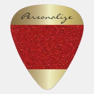 El confeti rojo con oro acentúa el | personaliza púa de guitarra