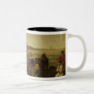 El conflicto sobre el bastón de oro taza de café de dos colores