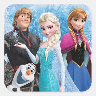 El   congelado Ana, Elsa, Kristoff y Olaf Pegatina Cuadrada