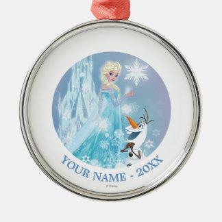 El   congelado Elsa y Olaf - el resplandor helado Adorno Navideño Redondo De Metal