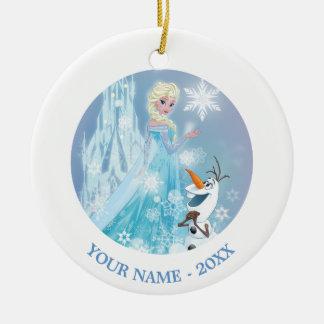 El | congelado Elsa y Olaf - resplandor helado Adorno Navideño Redondo De Cerámica